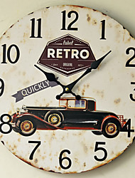 Traditional Country Antique Retro Holiday Family Retro Vintage Car Wall ClockNovelty Wood Plastic 35*35 Indoor/Outdoor Indoor Clock