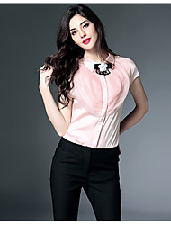 Women's Work Street chic Summer Blouse,Solid Patchwork Shirt Collar Short Sleeve Pink White Black Silk Thin