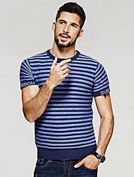 Herren Gestreift Einfach Lässig/Alltäglich T-shirt,Rundhalsausschnitt Sommer Kurzarm Blau Orange Baumwolle Acryl Mittel