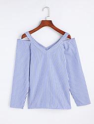 Damen Gestreift Einfach Ausgehen T-shirt,Rundhalsausschnitt Frühling Sommer Langarm Baumwolle