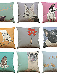 Set of 9 French Bulldogs  pattern Linen Pillowcase Sofa Home Decor Cushion Cover