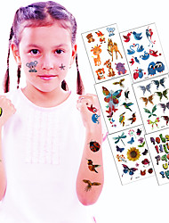6Pcs/Set Children Waterproof Body Art Cartoon DIY Stickers Animal Glitter Temporary Tattoos Waterproof