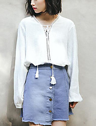 Damen Solide Einfach Lässig/Alltäglich T-shirt,V-Ausschnitt Frühling Sommer Langarm Weiß Baumwolle Mittel