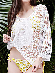 Women's Bandeau Cover-Up,Crochet Cotton White