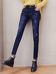 Waist jeans female Korean Slim was thin stretch pants feet pants, pencil pants