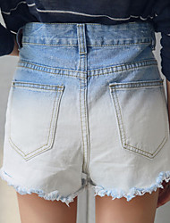 Sommer-Flash-Denimkurzschlüsse weibliche College Wind Retro-Gradienten hohe Taille Shorts große Yards koreanische