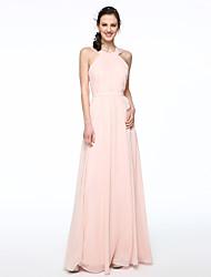 2017 Lanting Bride® Floor-length Chiffon Elegant Bridesmaid Dress - A-line Jewel with Sash / Ribbon Pleats