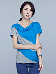 Damen Einfarbig Einfach Übergröße T-shirt,Kapuze Frühling Sommer Kurzarm Blau Schwarz Lila Polyester Elasthan Dünn