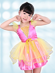Children's Ballet Dance Dress Performance Polyester Splicing 1 Pieces Sleeveless Dress Fuchsia Kid's Dancewear