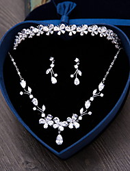 Jewelry 1 Necklace 1 Pair of Earrings Hair Jewelry AAA Cubic Zirconia Wedding Party Daily Zircon 4pcs Women Silver Wedding Gifts