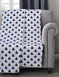 Flanela Branco Verde,Estampado Floral / Botânico 100% Poliéster cobertores 127x152cm
