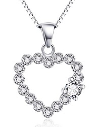 Pendants Sterling Silver Simulated Diamond Heart Basic Heart Silver Jewelry Daily Casual 1pc