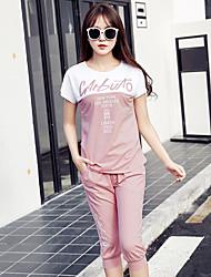 знак корейский летом спортивный костюм женщин большого размера свободно с короткими рукавами из двух частей трусов вскользь спортивной