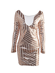 Women's Casual/Daily / Club Sexy / Street chic Bodycon DressPatchwork Mesh Sequin Backless Round Neck Above Knee Long Sleeve