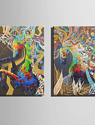 E-HOME Oil painting Modern Abstract colored Horse Series 5 Pure Hand Draw Frameless Decorative Painting