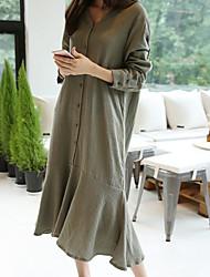koreanische Yards Frauen&# 39; s V-Ausschnitt Langarm-Shirt Kleid große Schaukel in dem langen Abschnitt Baumwollrock Aufsitzen