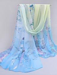 Mignon Soirée Décontracté Mousseline de soie Femme Écharpe,Imprimé Rectangle,Bleu Rose Violet Orange