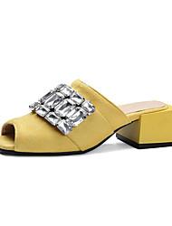 Damen-High Heels-Lässig-Kunstleder-Blockabsatz-Komfort-Schwarz Gelb