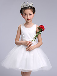 Ball Gown Short / Mini Flower Girl Dress - Cotton Satin Tulle Sleeveless Jewel with Bow(s) Crystal Detailing