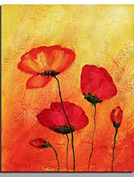 Popular red flower art painting home decoration red color flower oil painting on canvas simple abstract handpainted With Frame