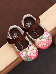 Baby Flats Comfort Flower Girl Shoes Leatherette Spring Fall Casual Outdoor Walking Comfort Flower Girl Shoes Magic Tape Low HeelRuby