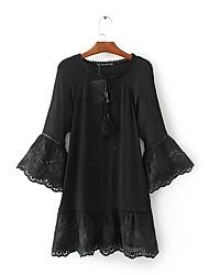 Для женщин На выход На каждый день Простое Уличный стиль Свободный силуэт С летящей юбкой Рубашка Платье Однотонный,Круглый вырезМакси