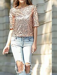 Damen Solide Sexy Niedlich Lässig/Alltäglich T-shirt,Rundhalsausschnitt Frühling Sommer Kurzarm Blau Schwarz Gold Silber Baumwolle Mittel