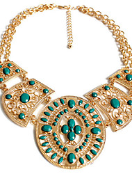 Women's Strands Necklaces Jewelry Jewelry Gemstone Alloy Fashion Personalized Euramerican Folk Style Luxury European Gold Light Blue
