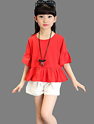 Girls' Casual/Daily Beach Holiday Solid Sets,Cotton Summer Short Sleeve Clothing Set