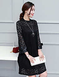 2017 spring new large size women's 200 pounds of fat MM loose sleeve was thin lace dress and long sections