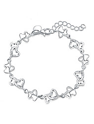 Women's Charm Bracelet Silver Plated Simulated Diamond Fashion Heart Cut Silver Jewelry 1pc
