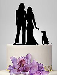 Décorations de Gâteaux Non personnalisée Même sexe Acrylique Mariage Commémoration Rouge Or Argent Noir Thème classique O-phénylphénol