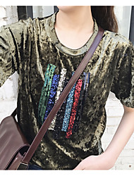 Hong Kong flavor retro chic sequin embroidery loose round neck velvet diamond cashmere short-sleeved T-shirt women Sign