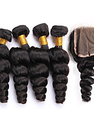 Vinsteen 7A Unprocessed Brazilian Human Loose Wave with Lace Closure Natural Color Hair Wefts 100% Human Hair Extensions Can be Dyed
