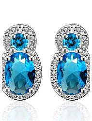Boucles d'oreille goujon Aigue-marine Cristal Zircon cubique Cristal Zircon Cuivre Plaqué or Imitation de diamant Bijoux de Luxe Bleu