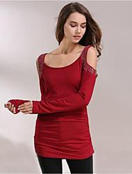 Women Casual Long Sleeve Off Shoulder T Shirt Rhinestones Long Pullover