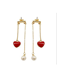 Stud Earrings Drop Earrings Imitation Pearl Tassel Love Pearl Imitation Pearl Resin Alloy Jewelry For Daily Casual