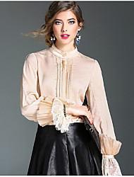 Women's Going out Casual/Daily Vintage Shirt,Solid Round Neck Long Sleeve Pink White Black Silk