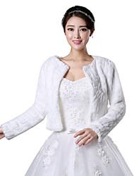 Fur Coats / Fur Wraps / Wedding  Wraps Coats/Jackets Long Sleeve Faux Fur White Wedding / Party/Evening Scoop Open Front