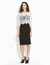 Women's Vintage Lace Inelastic Long Sleeve Knee-Length Dress (Cotton Blends)