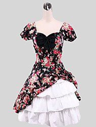 Outfits Sweet Lolita Princess Cosplay Lolita Dress Floral Cap Short Sleeve Long Length Dress For Cotton