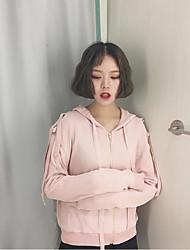 unterzeichnen die Rückseite des Korea Institute of Wind Spitzen Riemen mit Kapuze Pullover mit langen Ärmeln Mantel