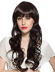 Long Water Wave Synthetic Fiber Wavy With Air Bangs Costume Cosplay Wig Stylish For Women
