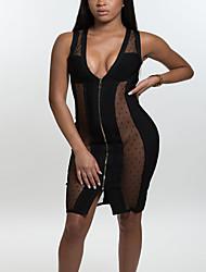 Moulante Robe Femme Soirée / Cocktail Soirée Sexy Chic de Rue,Points Polka Mosaïque V Profond Mini Sans Manches Noir Polyester EtéTaille