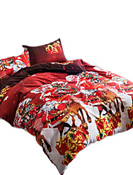 Mingjie 3D Reactive Christmas Gift Bedding Sets 4 Pcs for Queen Size Contain 1 Duvet Cover 1 Bedsheet 2 Pillowcases from China