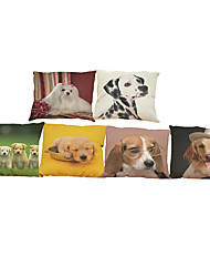 Set of 6  Cute pet dog  pattern   Linen Pillow Case Bedroom Euro Pillow Covers 18x18 inches Cushion cover