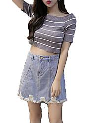Women's Denim Skirts A Line Solid Split Mini Skirts