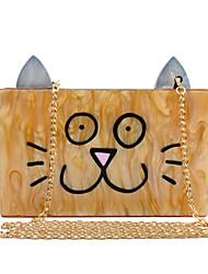 L.WEST Women's Elegant Acrylic Cartoon Cat Face Evening Bag