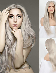 Long Grey Synthetic Lace Front Wigs Celebrity Style Ladygaga's Wig Platinum Ash Grey Hair Natural Straight Heat Resistant Front Lace Wig