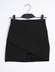Pencil Solid Skirts,Casual/Daily Simple Low Rise Mini Elasticity Cotton Polyester Micro-elastic Spring Summer